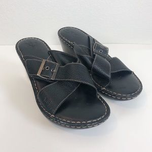 BOC black Leather Sandals size 10